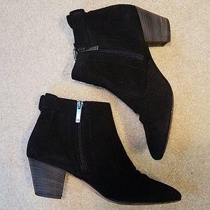 Aquatalia Black Suede Leather Perforated Booties